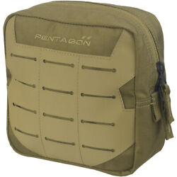 Pentagon Elpis 15x15 Utility Pouch Hiking Army Tactical MOLLE Laser Cut Coyote
