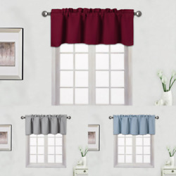 1 PANEL SOLID 100% THERMAL  BLACKOUT VALANCE WINDOW CURTAIN18'' LENGTH TVLO-18