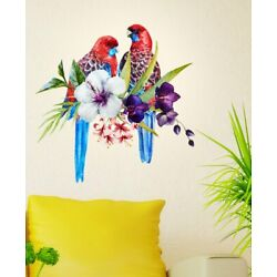 Pretty Tropical Birds On Floral Branch Wall Decal Home Décor Vinyl Wall Sticker