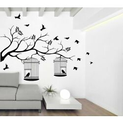 Tree With Birds And Cages Vinyl Mural Wall Sticker Decals Nursery Room Decor