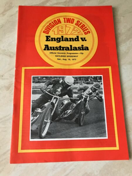 England V Australasia Rayleigh Speedway 19th August 1972 Programme