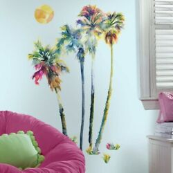 GiANt WATERCOLOR PALM TREES Wall Decals Tropical Decor Mural Beach SUN Stickers