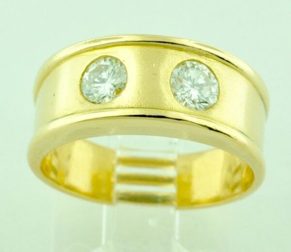 18k Solid yellow gold Natural diamond band ring 0.50 ct 2 stone April Birthstone