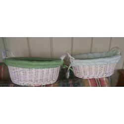 BASKETS TWO WHITE WASH HOME EASTER GARDEN OR GIFT GREEN LINERS  SIDE HANDLES