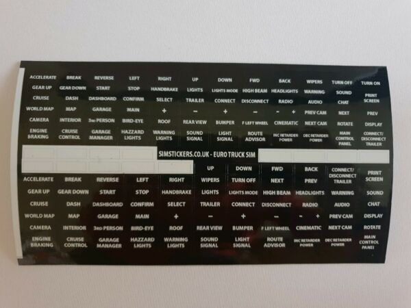 BLACK Truck Simulator button box and wheel stickers for ET2 etc