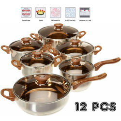Kyпить 12 Pieces Stainless Steel Cookware Set Pots Sauce Pans Frying Pan Set, Silver на еВаy.соm