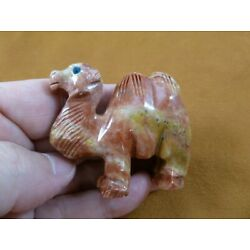 (Y-CAM-303) red CAMEL SOAPSTONE FIGURINE stone carving dromedary desert camels