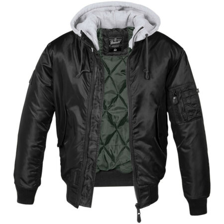 img-Brandit MA1 Sweat Hooded Jacket Quilted Flight Mens Nylon Warm Lined Black/Grey