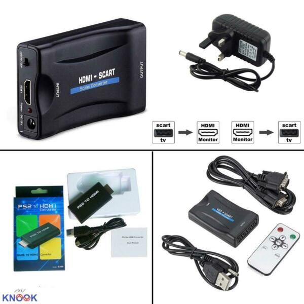 VGA to SCART to HDMI PS2 Audio Video Converter USB Cable HDTV DVD PS3 Composite