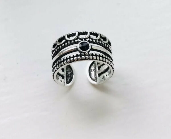 925 Silver Adjustable Ring Stackable Ring Black Stone Onyx Ring Thumb Ring Boho