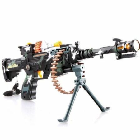 img-Combat 3 Army Commando Machine Gun Pistol With Lights And Sounds Kids Toy New