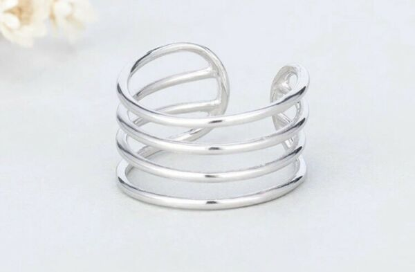925 Sterling Silver Multi Layer Adjustable Ring,Retro Thumb Ring, Stackable