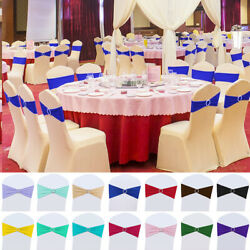 Kyпить 25/50/100pcs Stretch Buckle Bow Chair Sashes Cover w/ Slider Wedding Party Decor на еВаy.соm