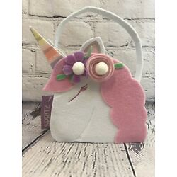 Spritz Unicorn Basket, White and Pink Felt, Ages 3+, NEW With TAGS