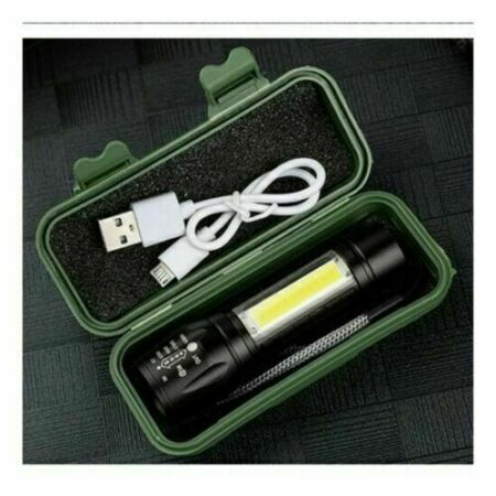 img-LED Torch USB Rechargeable Flashlight Police Zoom Camping Hiking Lamp Small UK