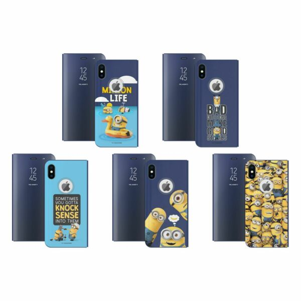 Royaume-UniDESPICABLE ME FUNNY  BLUE MIRROR FLIP STAND COVER FOR APPLE iPHONE PHONES