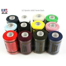 Kyпить Lot 12 Spools Sewing Thread Polyester Assorted Colors 1000 Yards Each Quality на еВаy.соm