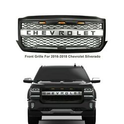 Kyпить Front Grille for 2016-2018 Chevhrolet Silverado 1500 Black with Amber Led Lights на еВаy.соm