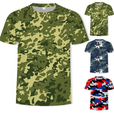 img-Summer Men's Camo T Shirt Camouflage Top Army Military Hunting Fishing Outdoor