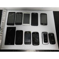 Lot of 11 cracked, untested cell phones samsung,htc,lg,zte,galaxys7,cricket