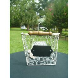 Pier 1 One Imports Farmhouse Chicken Wire 8'' Basket Chalkable Label w Handle