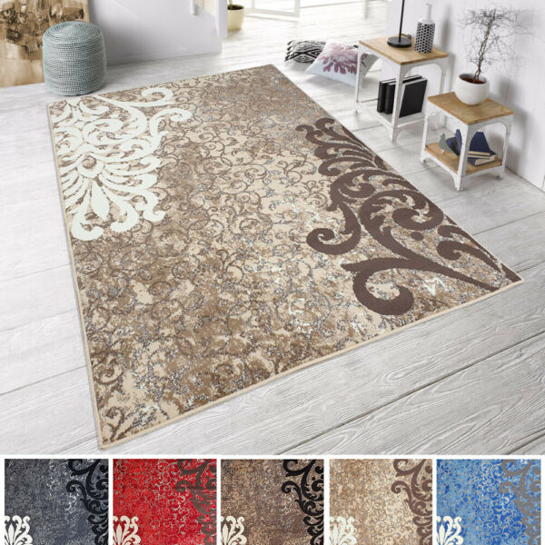 AllemagneDesign Moderne à Poils Ras Velours Tapis »« Baroque Gris, Braun, Rot
