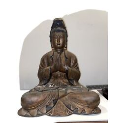 """Kyпить Large Carved Chinese  Painted And Gilt Seated Buddha Guangying  19"""" Height на еВаy.соm"""