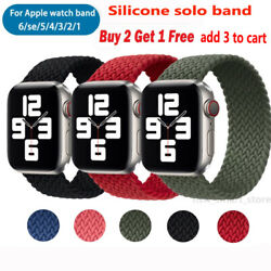 Kyпить Solo Loop Silicone Braided Strap Elastic Belt for Apple Watch 6 SE 5 4 3 21 Band на еВаy.соm