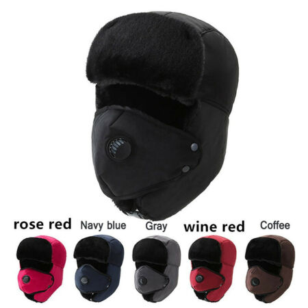 img-Unisex Winter Warm Trooper Trapper Hat Plush Snow Cap Bomber Cap Face Mask Cover