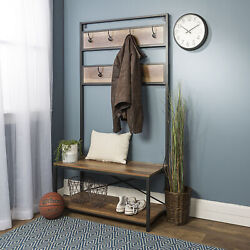Manor Park Industrial Hall Tree with Shoe Bench and Coat Hooks, Rustic Oak