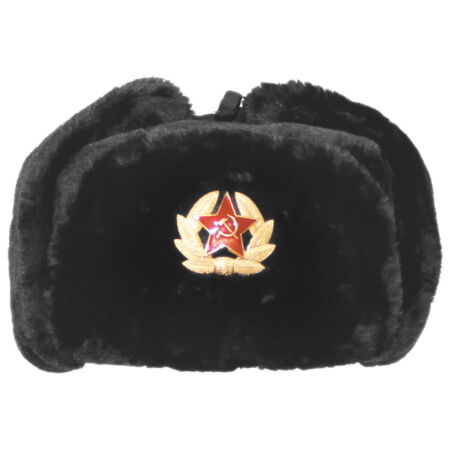 img-RUSSIAN ARMY STYLE WINTER CAP WARM TRAPPER HAT EAR FLAPS with BADGE BLACK S-XL