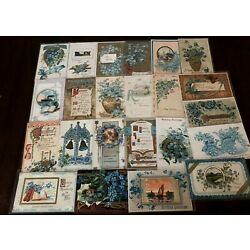 Kyпить Lot of~25~FLOWERS~Blue~FORGET-ME-NOTS~vintage~greeting~Postcards-in Sleeves-c326 на еВаy.соm