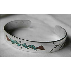 Kyпить Hand Made Sterling Turquoise Coral Chip Inlay Cuff на еВаy.соm