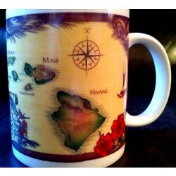 Kyпить Hawaii The Sandwich Islands Coffee Mug Island Chain Maui Pacific Traders Aloha на еВаy.соm