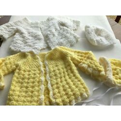 Kyпить Two Hand Crocheted Baby Sweaters and Bonnets Est 3-6 months size на еВаy.соm
