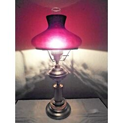 Kyпить GONE WITH THE WIND ELECTRIC OIL BURNER HURRICANE LAMP w/PURPLE CRACKLED SHADE на еВаy.соm