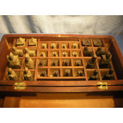 Kyпить VINTAGE HAND CARVED WOODEN CHESS SET WITH BOX на еВаy.соm