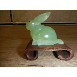 Kyпить Vintage Hand Carved Chinese Green Color Stone Rabbit Figurine w/Red Eyes Unique на еВаy.соm