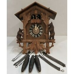 Kyпить 3-WEIGHT CUCKOO CLOCK WALZER Wood Bear REGULA GERMANY Untested read description  на еВаy.соm
