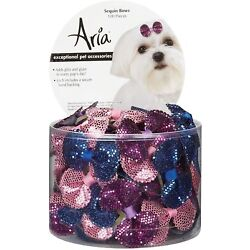 Aria Sequin Bows for Dogs 100-Piece Hair Accessories
