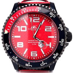 Adee Kaye AK2229 53MM 5M Red & Black Stainless Leather Strap Watch! 118