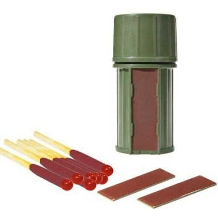 img-UCO Survival Hurricane Match Kit Green Container 25 Matches Fire Lighting Bus...