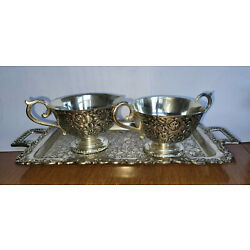Kyпить Vintage Holiday Import Ornate Silver Plated Small Tray with 2 sugar/cream cups   на еВаy.соm