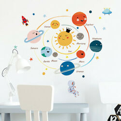 Cartoon Solar system Planets Wall Sticker Child Kids Room Home Decoration Mural