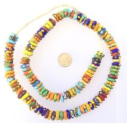 Amazing Ghana Kente colors mix Rondelle Disk Recycled glass African trade beads