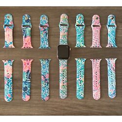 Lilly Pulitzer Pattern Silicone Apple Watch Bands 38mm 40mm 42mm 44mm S/M M/L