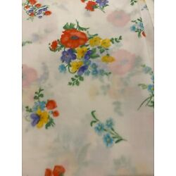 Vintage Utica RED*BLUE*YELLOW FLORAL SHEETS~King Set Fitted/Lace Flat/Pillowcase
