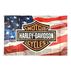 Kyпить Harley Davidson Flag Banner 3 X 5 ft LOGO on USA Flag Grommets FREE SHIPPING на еВаy.соm