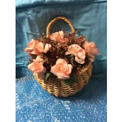 Wall Round Basket with Pink Roses and Maroon & White Sprays