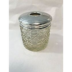 Kyпить Antique Sterling Silver Patterned Cut Glass Hair Receiver Dresser Jar на еВаy.соm